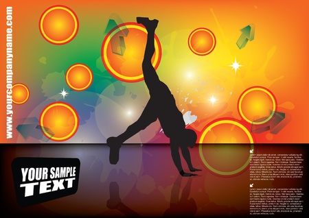 cool guy: acrobatic person on abstract background  Illustration