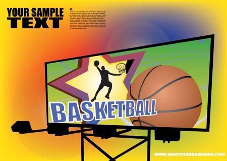 billboard posting: basketball billboard background  Illustration