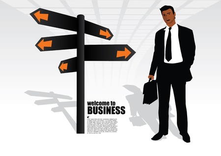 urban road: businessman and the signpost  Illustration