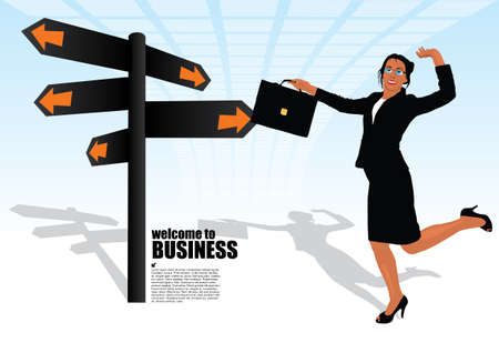 businesswoman and the signpost  Vector