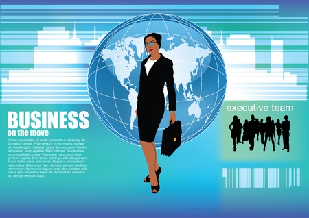 large woman: businesswoman abstract background