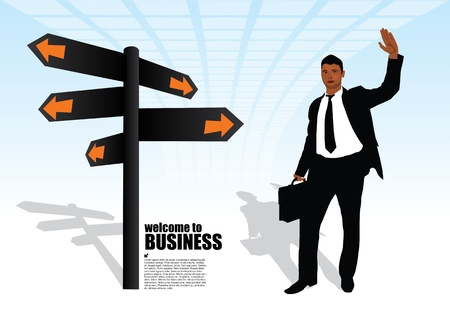 businessman and the signpost  Vector