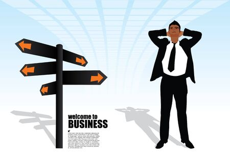 cross road: businessman and the signpost  Illustration