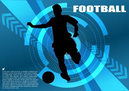 Voetballer op technische achtergrond