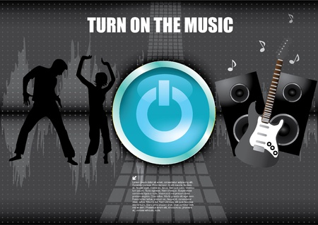 turn on the music background Stock Vector - 12236791