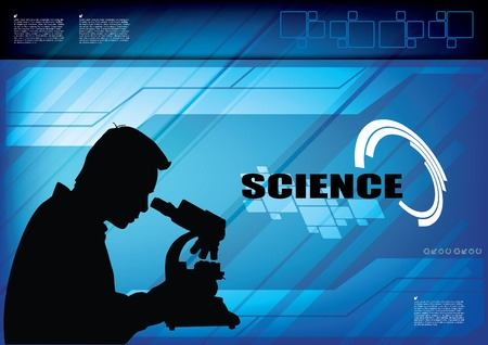 silhouette of scientist at technical background  Vector