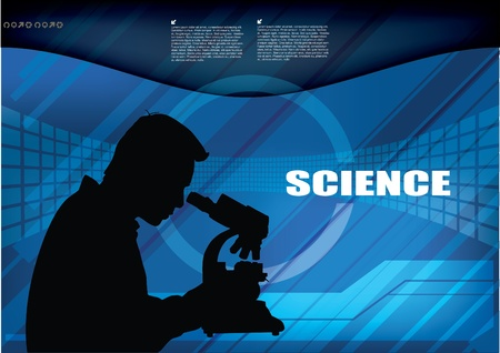 microscope lens: silhouette of scientist at technical background