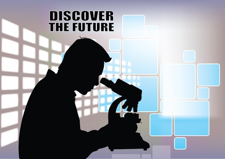 eyepiece: silhouette of scientist at technical background