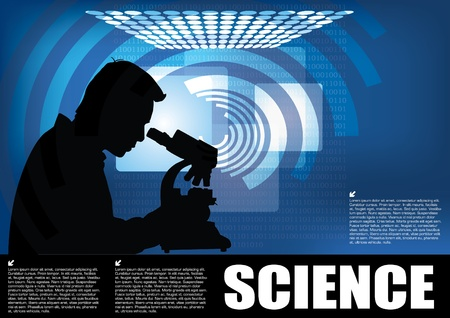 microscope lens: scientist on technical background  Illustration