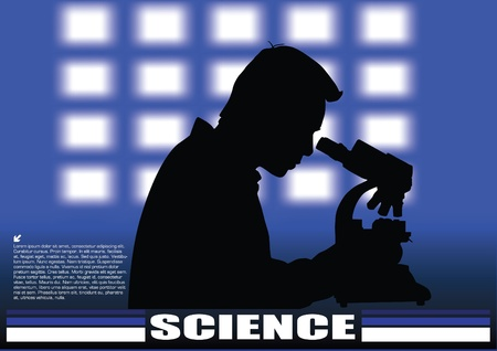 eyepiece: scientist on technical background  Illustration