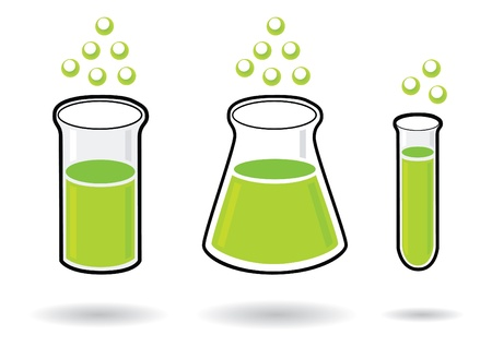 green chemistry: three chemistry test-tubes