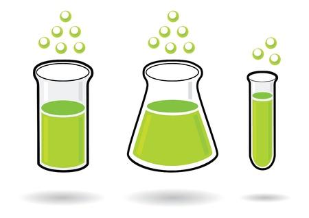 probeta: tres química tubos de ensayo Vectores
