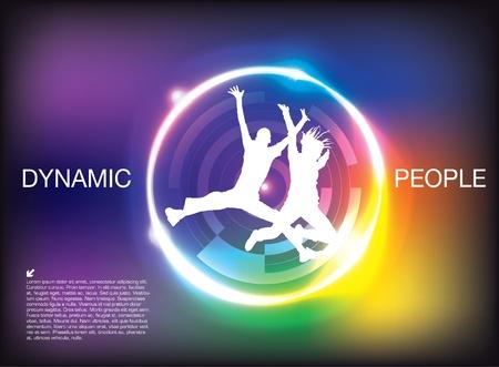 human energy: dynamic people background  Illustration
