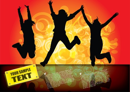 black teens: jumping happy people background