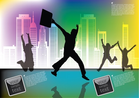 happy people on city background  Vector
