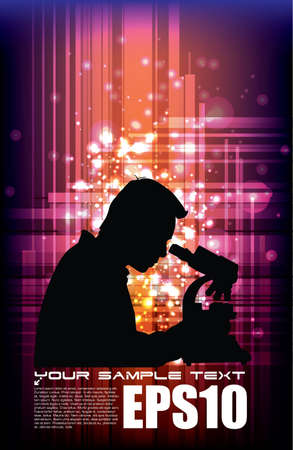 scientist on sparkling background Stock Vector - 12763845