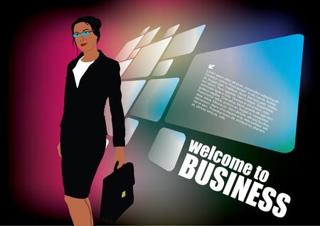 governance: businesswoman on modern background  Illustration