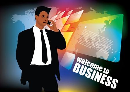 flow diagram: businessman on modern background