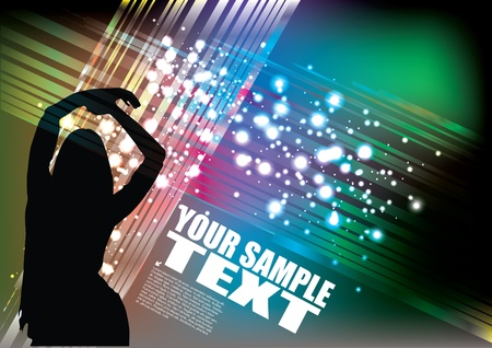 Dancing woman on magic background  Vector