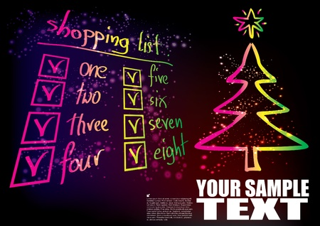 shopping list and christmas tree  Vector