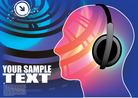discotheque: head with headphones on technical background  Illustration