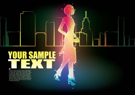 neon background - woman and the city  Vector
