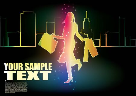 shopping girl and the city  Vector