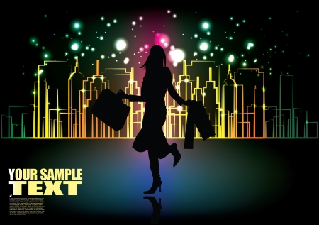 shopping girl and the city  Illustration