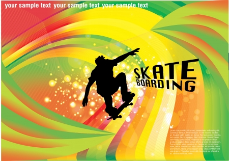 skateboard abstract background Stock Vector - 13600918