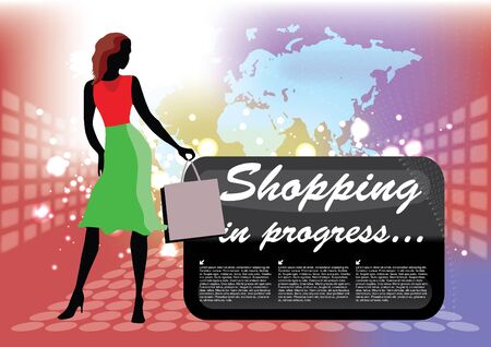 shopping girl at abstract background  Vector