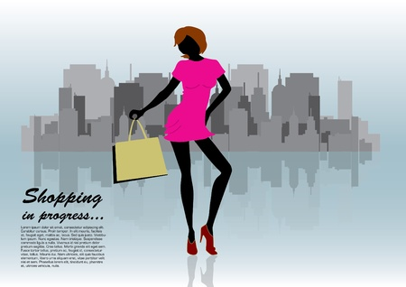 shopping woman on city background  Vector