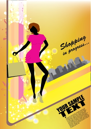 shopping woman on abstract background  Vector