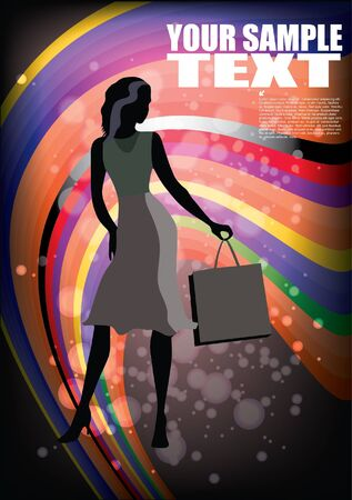 shopping woman on abstract background Stock Vector - 13785076