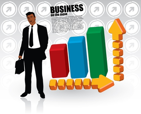 businessman and chart  Stock Vector - 13785060
