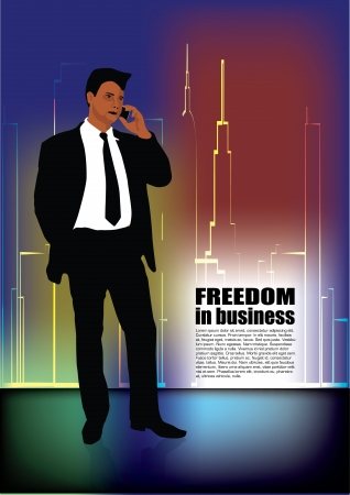 tall man: business person on abstract city background