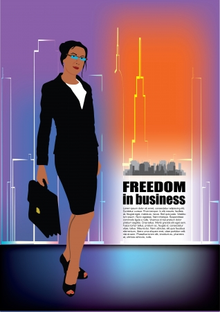 business person on abstract city background  Stock Vector - 13889279