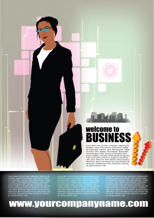 woman tie: business person on abstract city background