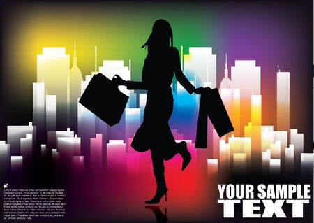 woman shopping on city background Stock Vector - 13889292