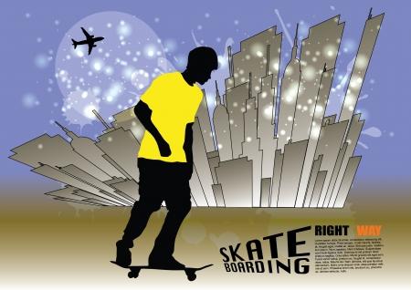 skateboarding background  Vector