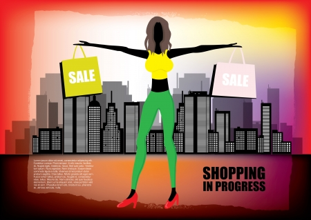 woman shopping on city background  Stock Vector - 13886550