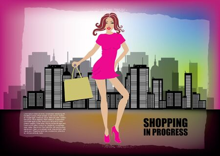 woman shopping on city background  Vector
