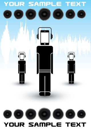 mobile phone music robots  Vector