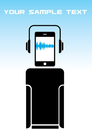 mobile phone music robot  Vector