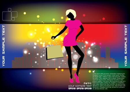 woman shopping on modern city background  Vector