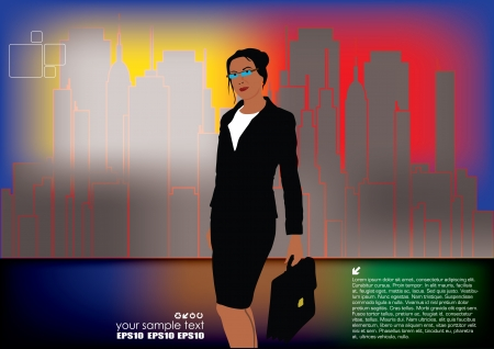 businesswoman on city background  Vector
