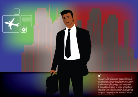 gray suit: businessman on city background