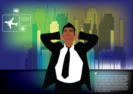 tall man: businessman on city background