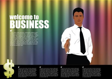 businessman in welcome pose in front of curtain  Vector