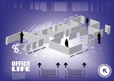 3d office with workers  Vector