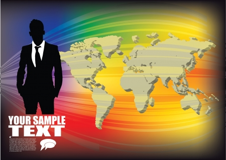 businessman and 3d world map  Vector